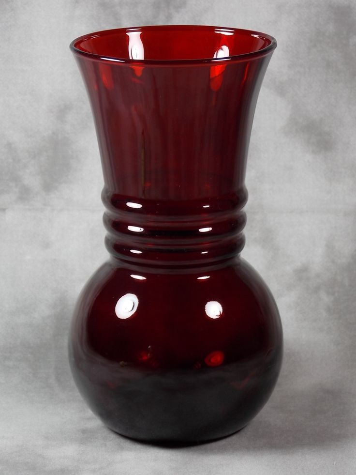 MINT Vintage Anchor Hocking Royal Ruby Red Depression Glass Harding Flower Vase picclick.com