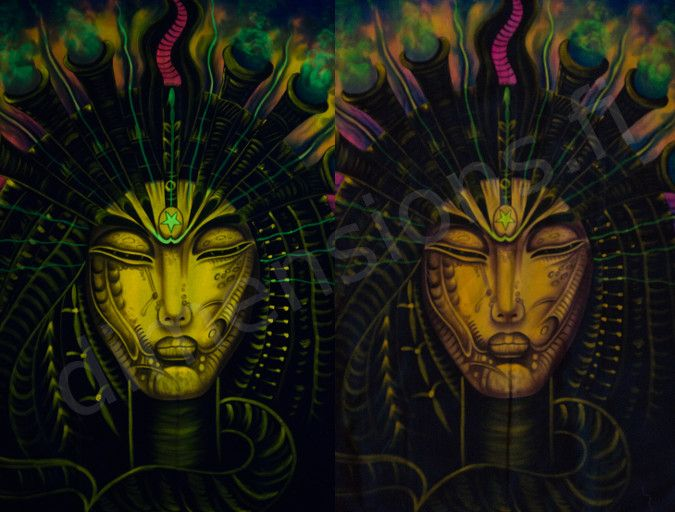 Handmade picture of a shaman. Size c. 99 x 152 cm (39 x 60 in). Glows in UV light.