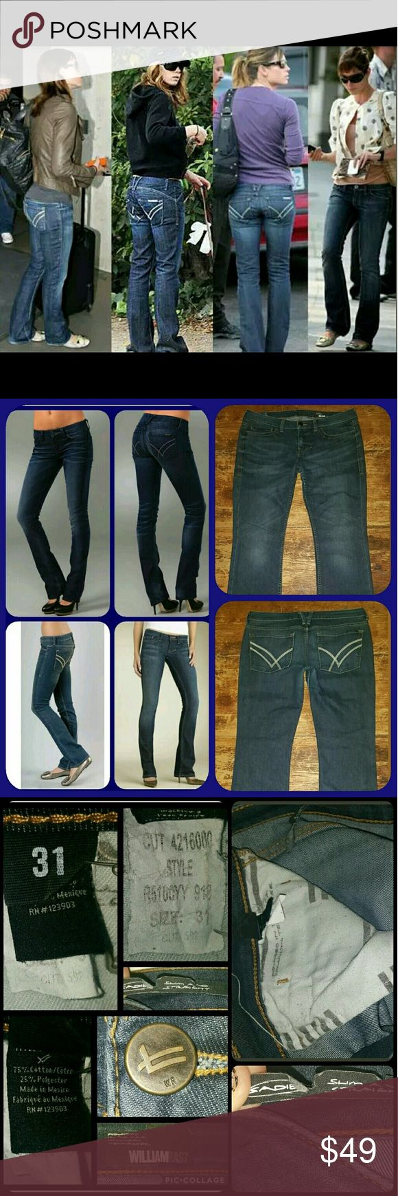 William Rast Sadie Slim Straight Boyish cut Jeans Good used condition! Still alot of life in these luvlies! Slight wear at crotch areas as consistent w/ light wear & laundering.  WR  (as well as SFAM) seem to both wear at crotch easy in my experience,rather it is thigh but upper inside thigh area.more so than other jeans .pls see last pic..not a hole.nor threadbare but u might want 2 add interior patch just 2help prevent more wear. imo. Sadie slim straight auto wash  PICS on models & celebs…