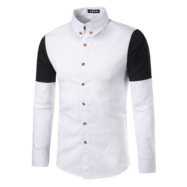 Casual Formal Patchwork Turn-down Collar Fix Slim Long Sleeves Dress Shirts for Men