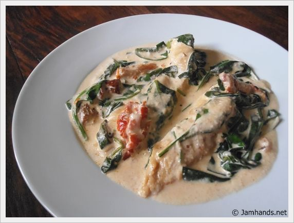 Chicken with Spinach & Sun Dried Tomatoes in a Creamy Chipotle & Adobo Sauce at www.JamHands.net