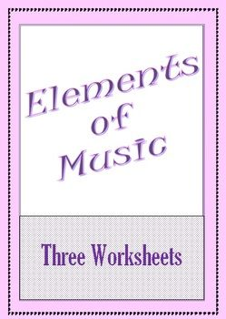 ELEMENTS of MUSIC  ACTIVITY 1: WORD SEARCH with CLUES: ACTIVITY 2: FIND and DEFINE:   ACTIVITY 3: MIX and MATCH