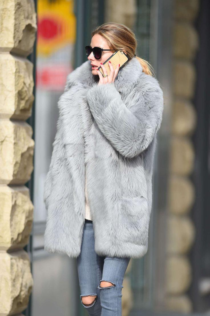 Olivia Palermo Wearing a grey fur coat