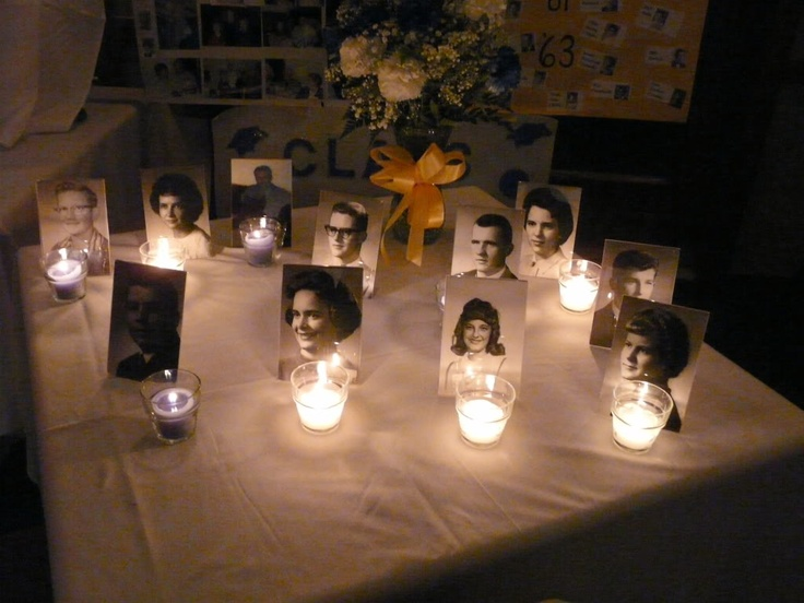 In memory of candle reunion i really love this idea for Table 20 personnes