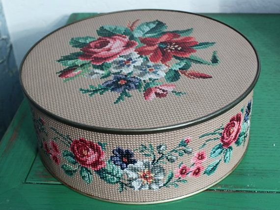 Vintage Guildcraft Metal Tin for Sewing Storage Tapestry with Roses