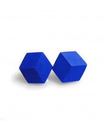 """Awesome Studs """"Purismus"""" Ultramarin Blue, geometric jewelry by PICTOFACTUM - illusion of a cube"""
