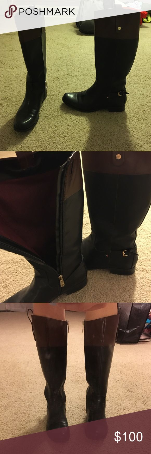Tommy Hilfiger Riding Boots Tommy Hilfiger riding boots. Color block design- black and brown on top. Really Good condition. Size 8.5. No highly visible scuff marks. Tommy Hilfiger Shoes Winter & Rain Boots