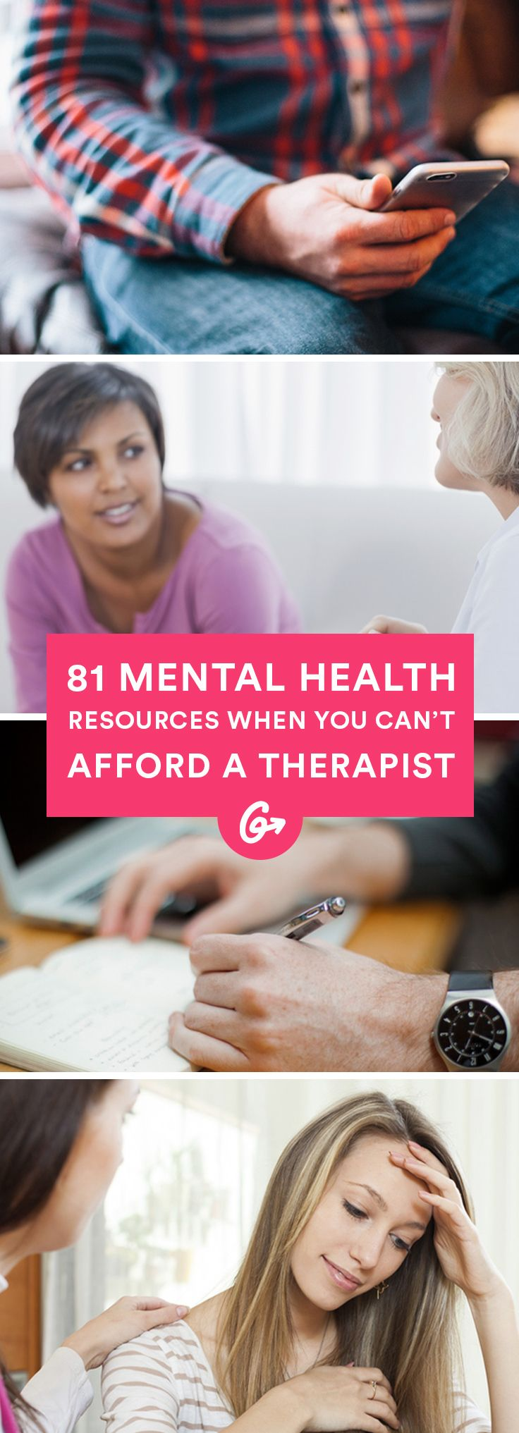 Keep this list of mental health resources handy whenever you need some backup. #mentalhealth #therapy #selfcare http://greatist.com/grow/resources-when-you-can-not-afford-therapy