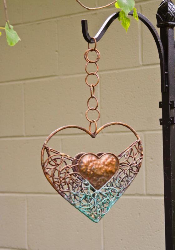 Copper Heart Bird Feeder