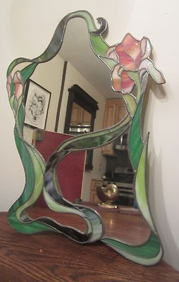 LOVE THIS MIRROR!!!!!!!  Vintage Handmade Stained Colored Glass Floral Art Deco Frame Mirror Window | eBay