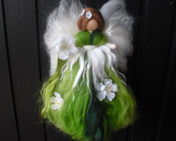 needle felted fairy CHERRY BLOSSOM-  spring fairy doll- Waldorf fairy- needle felted fairy- wool elf- girls room- decoration. $20.00, via Etsy.