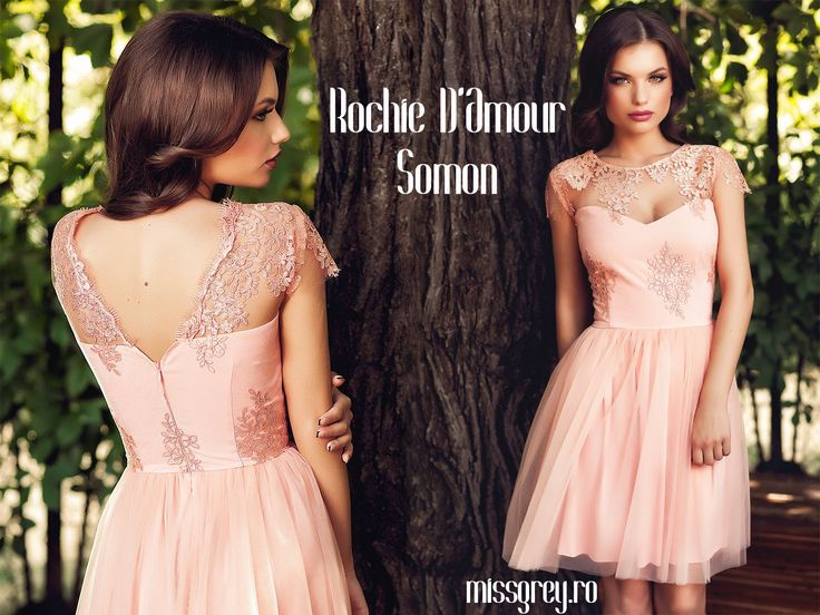 Short occasion dress with tulle skirt and lace bust, only 309 RON. Shop it here: https://missgrey.ro/ro/produse-noi/rochie-d-amour-somon/344?utm_campaign=colectie_iunie1&utm_medium=damour_somon&utm_source=pinterest_produs