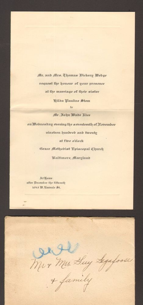 1920 Wedding Invitation Grace Methodist Episcopal Church Baltimore Maryland MD