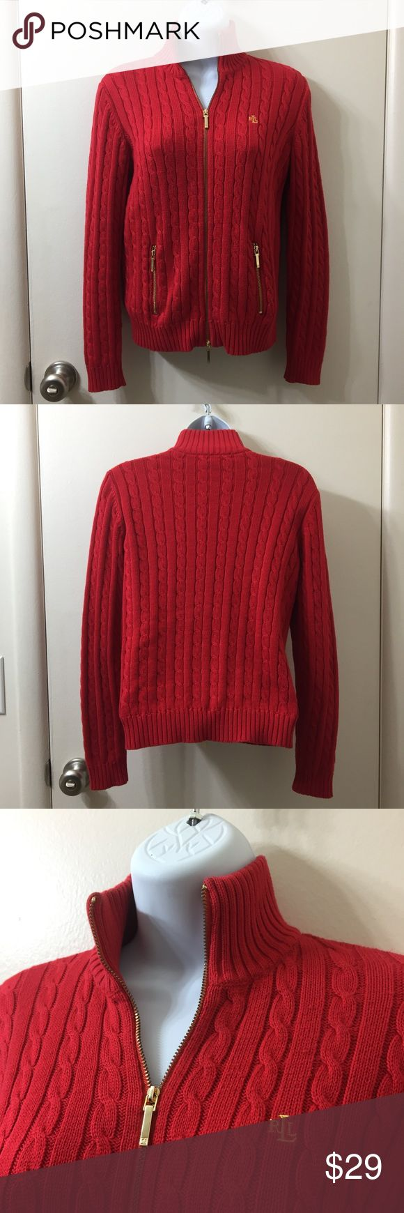 Red Lauren Ralph Lauren Zip Up Cable Knit Sweater Red Ralph Lauren Stand up Collar Zip Up Cable Knit Sweater. Size Petite. Please see photo with tag.  100% Cotton. Has Gold Accent Zipper and Pocket Pulls. Insignia Is in Gold as well. Sweater has 2 pockets that zip shut.   Can be worn on that chilly Spring night. Out on the Boat on a beautiful Summer night. Or that Blustery Winter Day. Should be a staple in everyone's wardrobe? Makes that White T and Jeans Oh so Fabulous. Lauren Ralph Lauren…