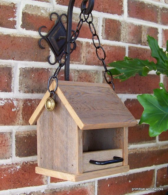 Bird Feeder Wooden Rustic Recycled Natural by PrimitiveWoodworks, $22.00
