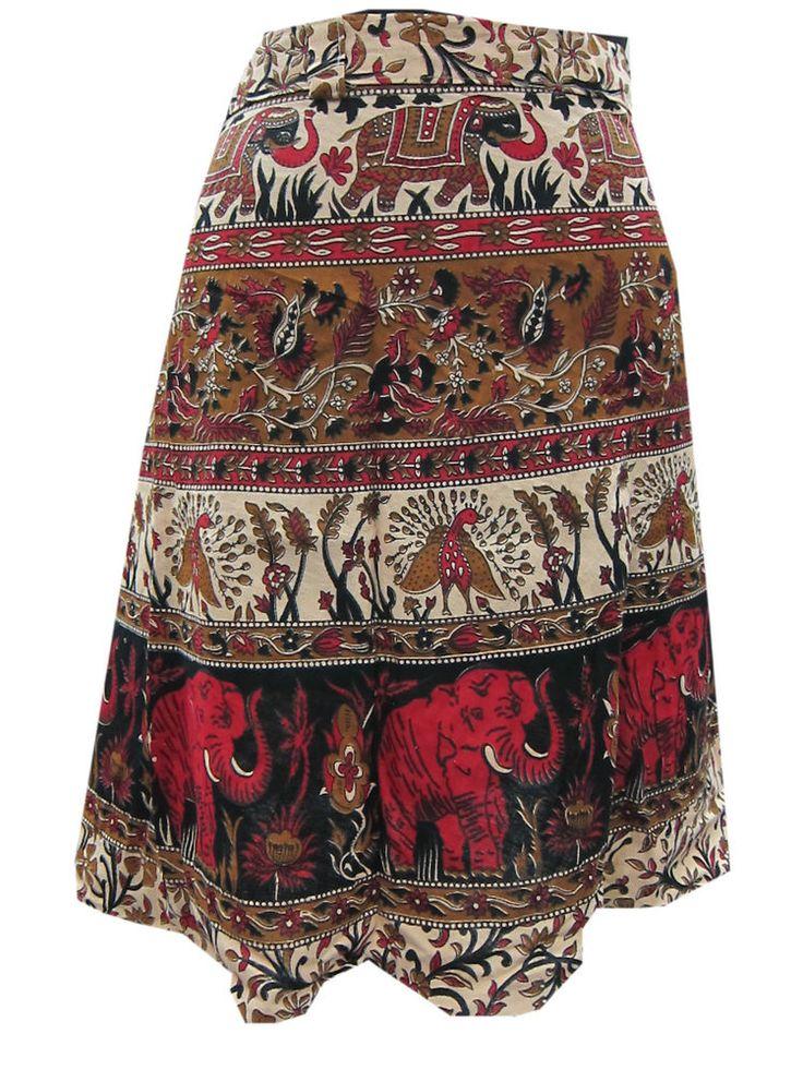 Beach Wear Mini Wrap Skirt Jaipuri Printed Wraparound Skirt For Girls