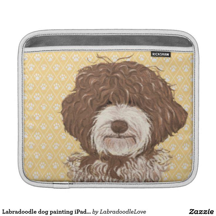 Labradoodle dog painting iPad pad cover horizontal iPad Sleeves