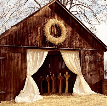 great drapes and barn entrance