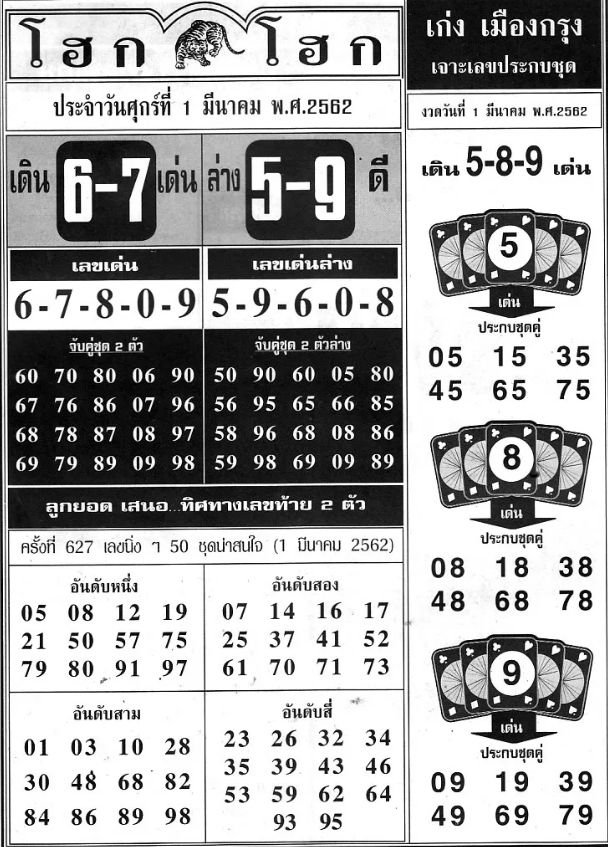 Thai lottery last magazine paper tips for 1 March 2019