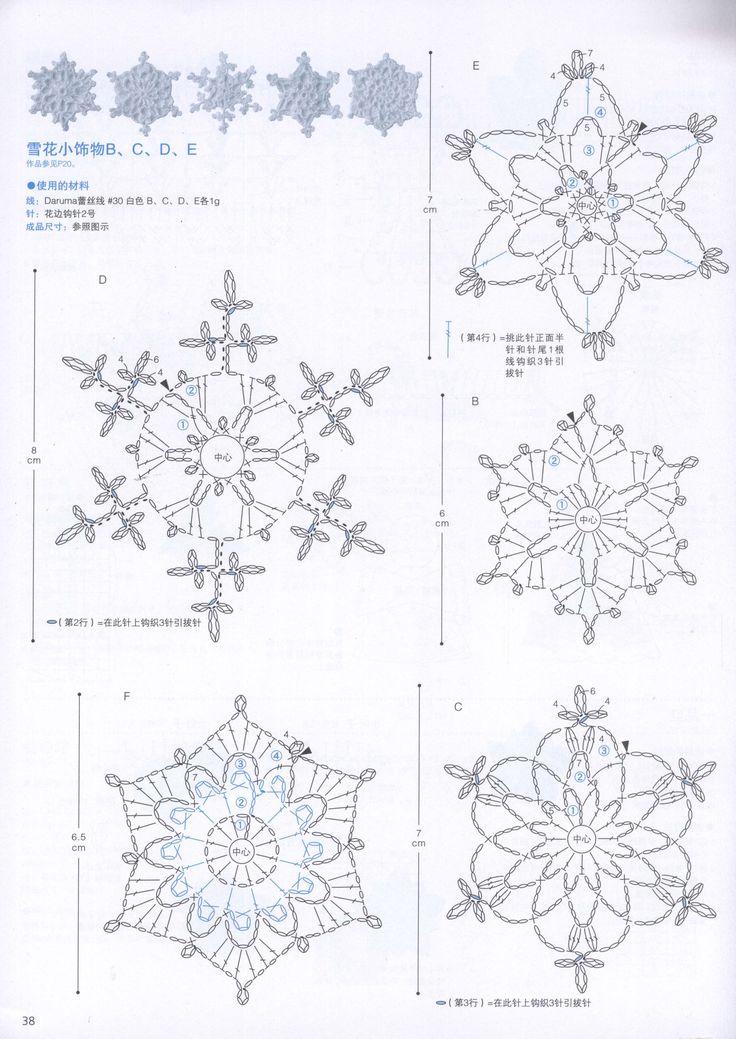 Häkelsteno für 5 verschiedene Schneekristalle
