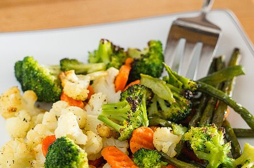 Side Dish: Roasted Frozen Vegetables anothe one I saw thawed them first