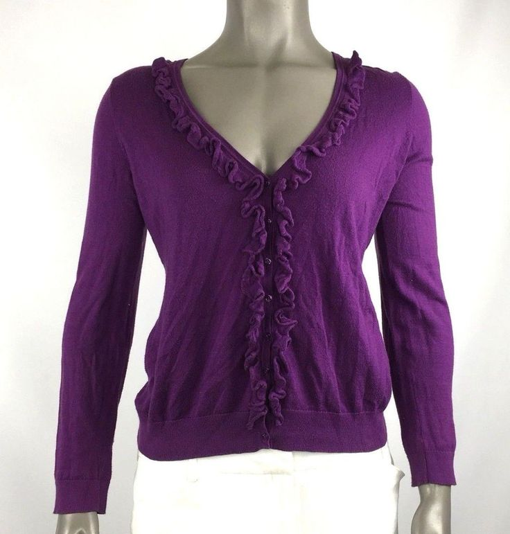 Ann Taylor womens pima cotton cardigan purple rurffle size Small casual work #AnnTaylor #Cardigan