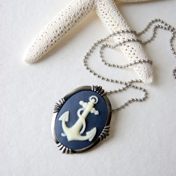 Anchor Necklace indigo and ivory anchor cameo with steel chain also a brooch summer fashion found on PolyvoreAnchors Necklaces, Necklaces Indigo, Cameo Necklaces, Ivory Anchors, Anchors Cameo Found, Anchor Necklace, Accessories, Anchors Jewelry, Blackstar