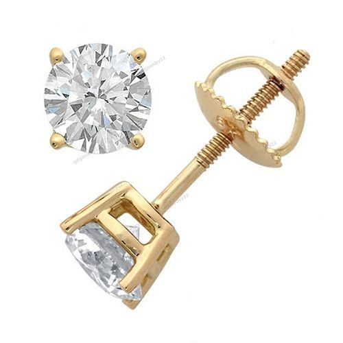 925 Sterling Silver 4 Prong Setting Round Cut D/VVS1 Diamond Ladies Stud Earring…