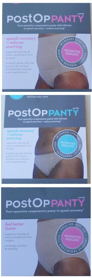 Post Op Panty for any abdominal surgery - has built in silicon panel to aid in scar reduction. speeds healing and reduces scarring while providing support.