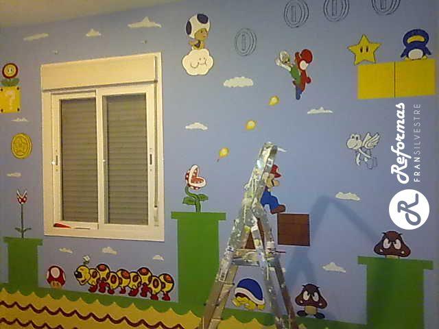 habitacin decorada con personajes de mario bros pinturas realizadas por reformas fran silvestres reformas del hogar pinterest