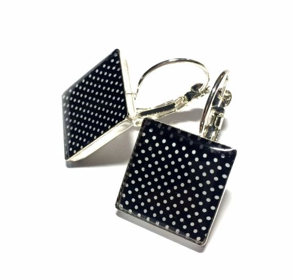 Black and White Spot Resin Square Dangle by MyBlossomCouture