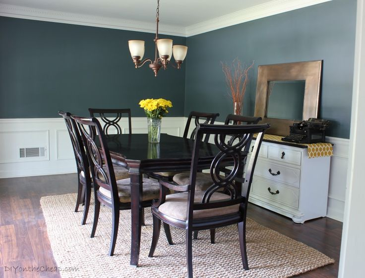 Dining Room Before & After -- Love this paint color, Nocturnal Gray!
