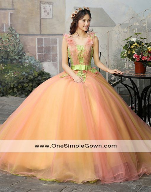 Peach Color Ruching Lace Colourful Performance Dress Wedding Gown Onesimplegown