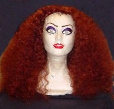 Magenta Rocky Horror long red curly wig!