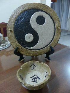 Cenicero, cuadro shing shang en pasta piedra