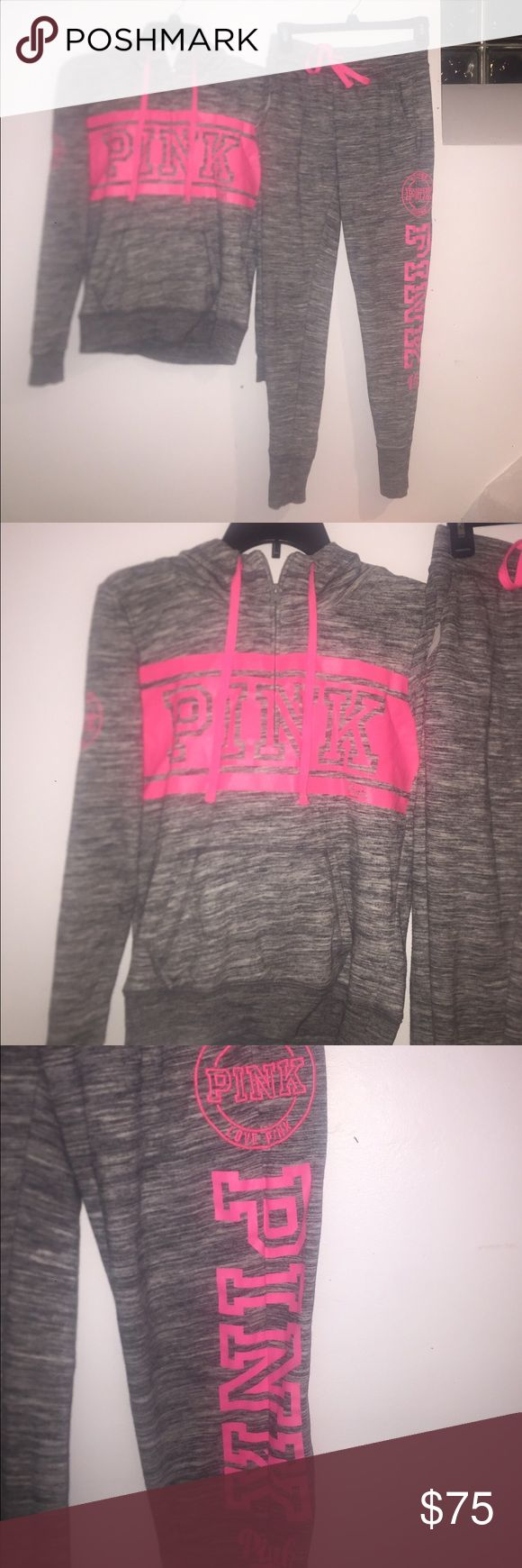 Pink jogging outfit Neon pink and grey jogging outfit size XS PINK Victoria's Secret Pants Track Pants & Joggers