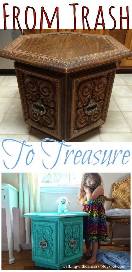 From Trash to Treasure -- The Octagon Side Table Makeover // ****How to make sure a musty old throw away is safe for a kid's room.****