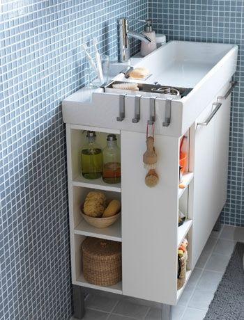 Install a basin station in a small bathroom
