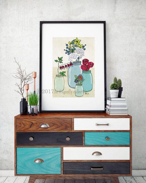 Artist Shanni Welsh's Kerr jar and flower bouquet print. Botanical flower Poster.