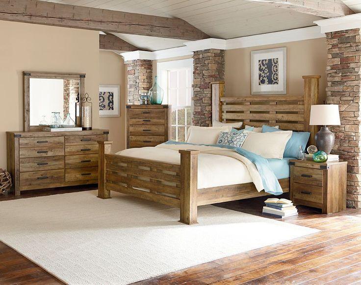 Montana Rustic Buckskin Wood Bedroom Set w/Queen Poster Bed. Pine bedroom  furniture ...