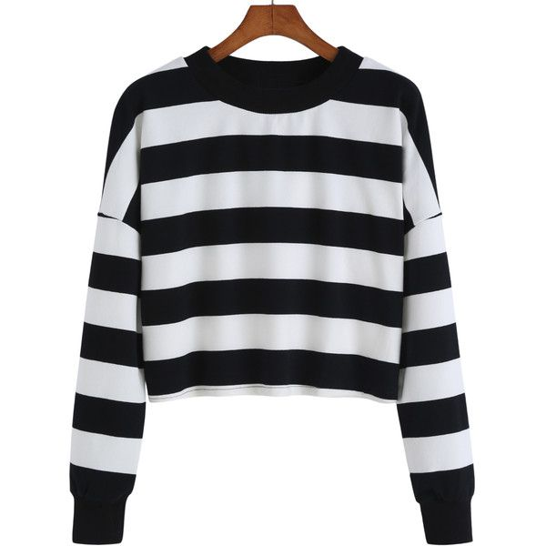 Striped Crop White Sweatshirt (19 CAD) ❤ liked on Polyvore featuring tops, hoodies, sweatshirts, black and white, crop top, long sleeve crop top, black and white striped top, cropped sweatshirt and sweat shirts