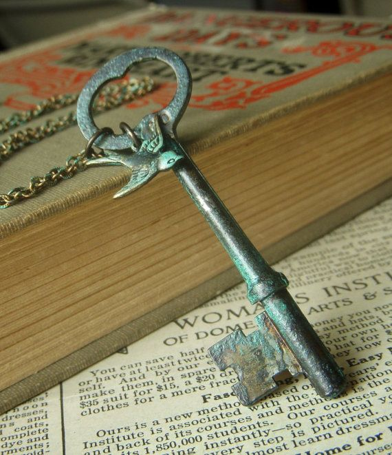 Antique Skeleton Key Necklace on Brass Patina  by beadstylin