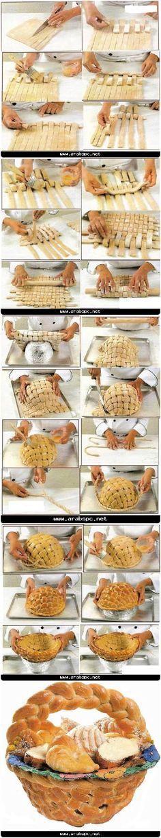 Cesto di #pane al forno completamente commestibile #Edible large basket, #bread, #tutorial