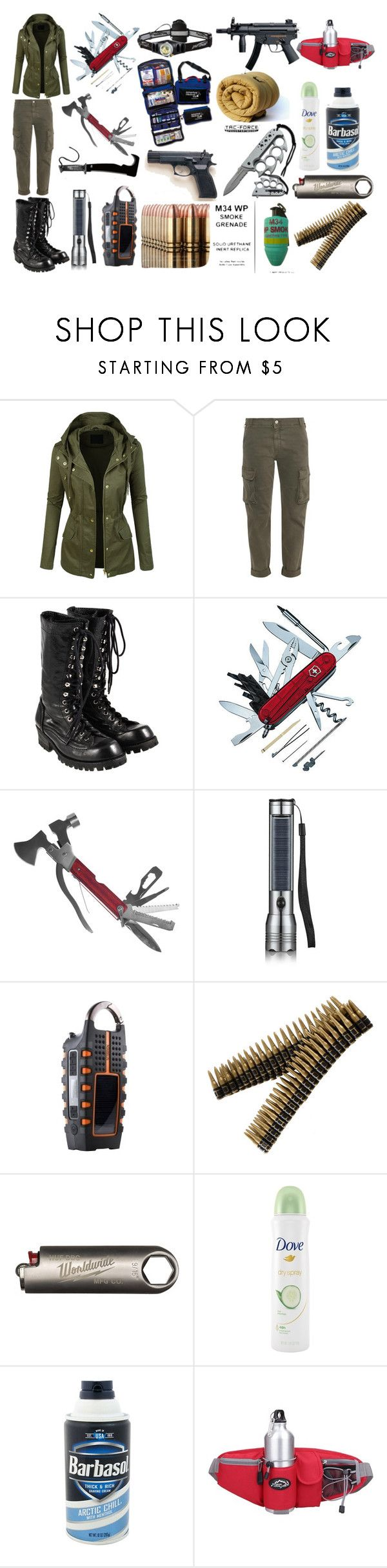 """Zombie Apocalypse Survival outfit and kit"" by senna-bluefire ❤ liked on Polyvore featuring LE3NO, STELLA McCARTNEY, Comme des Garçons, Swiss Army, Whetstone Cutlery, HUF and Dove"