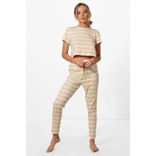 Boohoo Phillipa Stripe Tee + Trouser PJ Set ($32) ❤ liked on Polyvore featuring intimates, sleepwear, pajamas, striped pajamas, cotton pajamas, cotton pyjamas, striped pajama set and cotton sleepwear