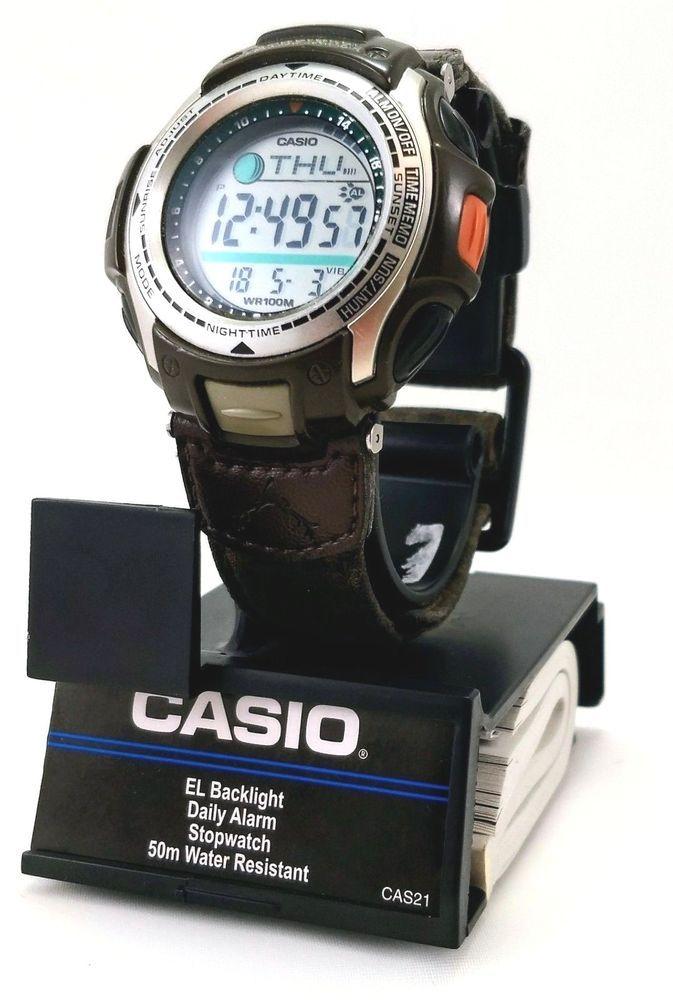 Casio Pathfinder Men S Digital Watch Hunting Timer Moon Phase 2805 Pas 410b Camo Huntingtimer Menswatch Digitalwatch