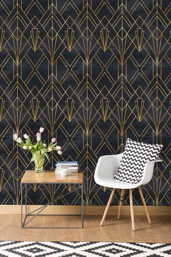 Removable Wallpaper Self Adhesive Wallpaper Gold and Black