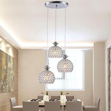 Ljuskronor Hängande lampor ,  Modern Traditionell/Klassisk Rustik/Stuga Tiffany Trumma Glob Krom Särdrag for Kristall Flush Mount Lights