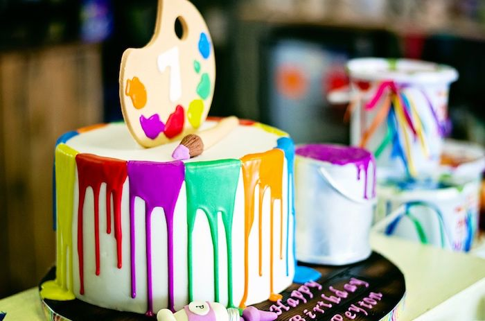 Paint drizzle birthday cake from a Rainbow Art + Painting Party via Kara's Party Ideas | KarasPartyIdeas.com (23)