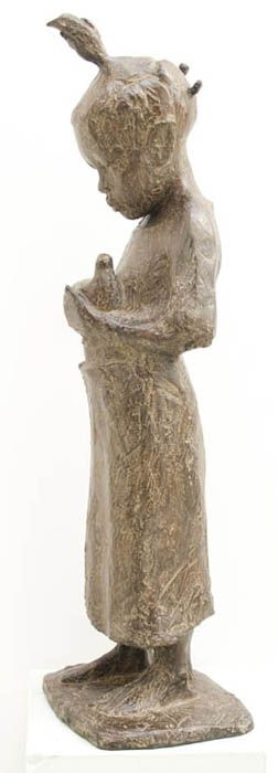 An Original #Sculpture by #TheoMegaw entitled: Girl With Dove #Bronze #SouthAfricanArtist For more please visit www.finearts.co.za